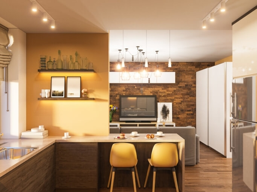 kitchen with modern track lighting